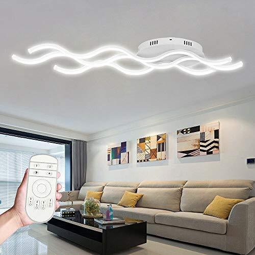 Froadp 30W Wellenförmige LED Hängelampe Acryl Welligkeit Kurve Pendelleuchte Wellenform Deckenleuchte Kronleuchter Lüster für Esszimmer Wohnzimmer(Dimmbar, mit Fernsteuerung)
