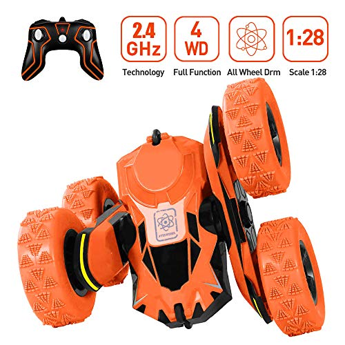 Flywind Remote Control Car 4WD Stunt RC Car Double Side 360 Rotation Stunt Car Off Road Hobby Crawler 2.4GHZ High Speed Racing Car Toys with Rechargeable Battery RC Car for Boys Kids Girls, Orange