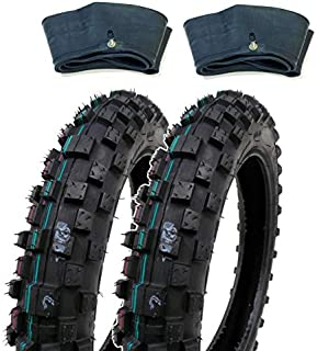MMG Set of 2 Knobby Tires 2.50-10 (Rim 10 inches) Front or Rear Tube Type Off Road Motocross Pattern Includes Matching Inner Tubes (TR4)