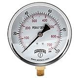 Winters PEM223LF PEM-LF Series Pressure Gauge, 4' Dial size, 1/4' NPT, 0/100 psi/kpa, ±3-2-3% accuracy