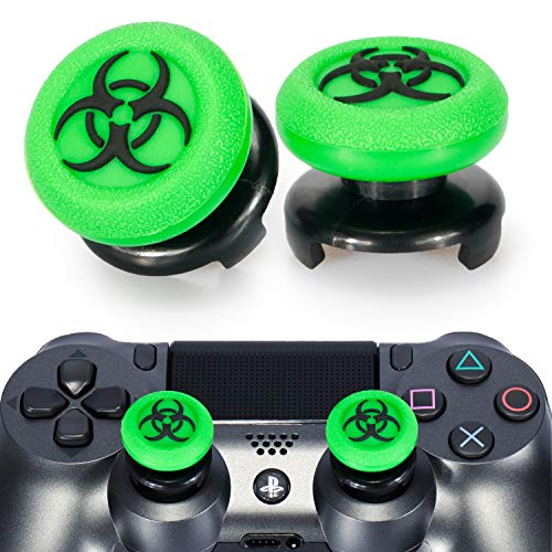 Playrealm FPS Thumbstick Extender & 3D Texture Rubber Silicone Grip Cover 2 Sets for PS5 Dualsenese & PS4 Controller (BioH Green)