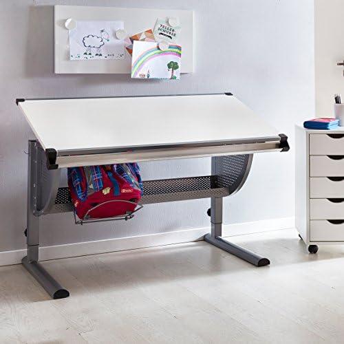 BuyDream Design h nverstellbar neigungs-verstellbar Kinderschreibtisch Holz 120 x 6cm   Grau WeißSchülerschreibtisch Schreibtisch für Kinder
