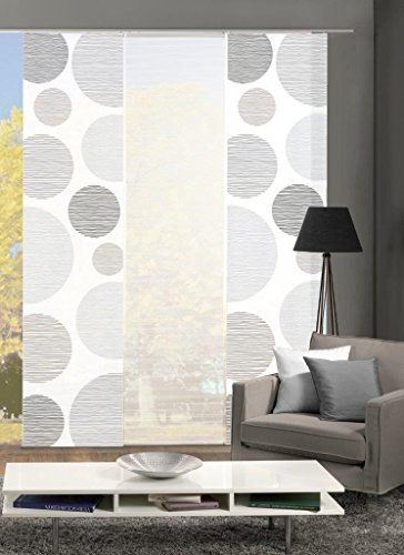 Vision S 88553 | 3er-Set Schiebegardinen Borden | halb-transparenter Stoff in Bambus-Optik | 3X 260x60 cm | Farbe: (grau)