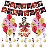 GOOODBUY Betty Boop suministros de fiesta incluye globos de banner para tartas y magdalenas para decoración de fiesta de cumpleaños de niños