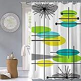 JOVEGSRVA Cartoon Gelbgrün Duschvorhänge Wasserdicht Badvorhänge Duschbad Vorhang Form Badvorhang Mit 12 Haken 180 X 180Cm
