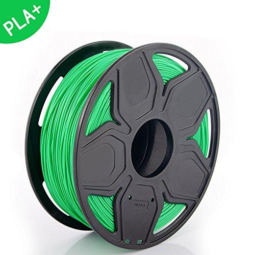TIANSE filamento PLA PLUS + per stampanti 3D, 1,75 mm, precisione dimensionale +/- 0,02 mm (2,2 lbs.) (Verde)