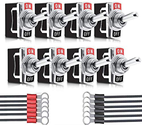 8 piezas Conmutador de Palanca SPST,Interruptor BasculanteAC125V 10A,ON/OFF 2 Posiciones 2 Pin,Rocker Toggle Switch para Auto Vehiculo Barco,Interruptor de Palanca con Precableado