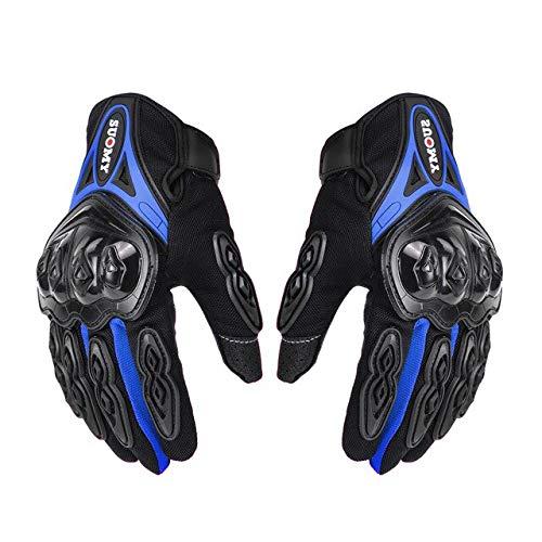 Bruce Dillon Guantes de Moto Guantes de Moto de Carreras para Hombre Guantes de conducción de Motocross Guantes de Verano Transpirables para Dedo Completo - Azul X XXL