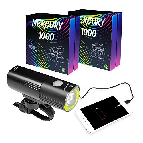 Mr Bike Lights | Bike Lights | Super Bright USB Rechargeable Bike Light | IPX6 Waterproof Mountain Road Bicycle Lights | Safety | Easy Mount Cycle Light | Front Bike Light | LED 1000 Lumen