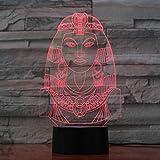 Illusion Lampe Nachtlicht 3D optische Täuschung Lampe Ägyptische Frauen Modellierung er 7 Farben...
