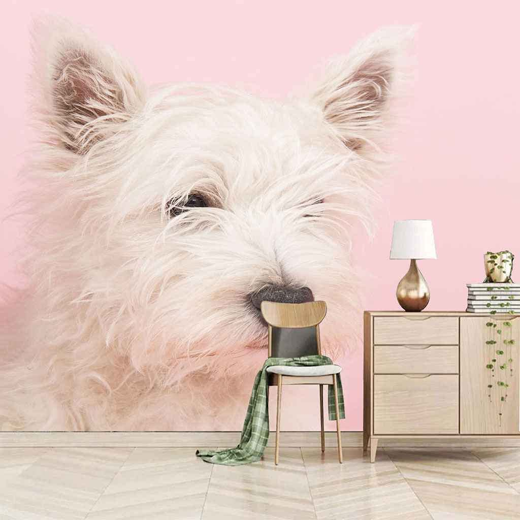 HWCUHL Wall Stickers Kids Max 72% OFF Bedroom White Puppy Canvas Animal Art Cash special price