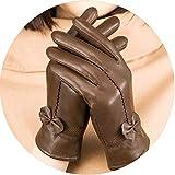 Small-shop-gloves Guantes de Piel de Oveja para Mujer, con Lazo de Piel auténtica, para Mujer, para Invierno, Gruesos, cálidos, para Conducir, G198, Talla única, Marrón
