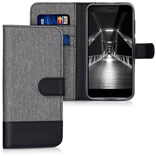 kwmobile Funda Compatible con Xiaomi Redmi 4X - Carcasa de Tela y Cuero sintético Tarjetero Gris/Negro