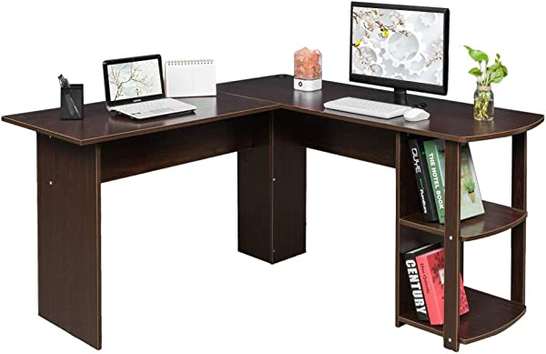 Guxing L Shaped Wooden Right Angle Computer Desk Study Desk With Two Layer Bookshelves Home Office Desk Workstation Corner Computer Desk Wooden Laptop Table Dark Brown