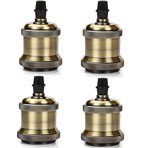 GreenSun Edison E27 Antique Alu Lampenfassung Deckenfassung Fassung Socket Lampenfuss Retro Vintage Halter für Hängeleuchte Deckenleuchte Adapter Beleuchtung Sockel, Bronze, 4er
