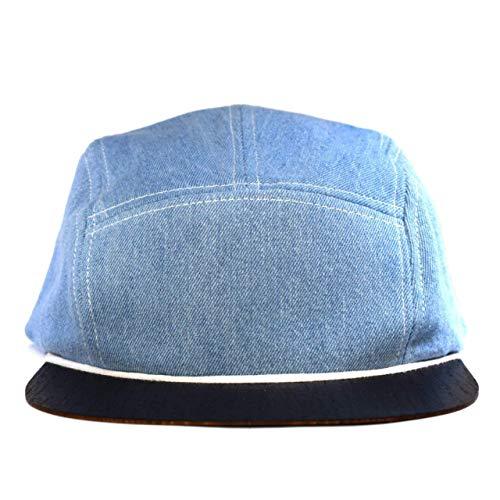 Cap Damen Made in Germany - Jeans Cap blau mit edlem Holzschild - Snapback Cap