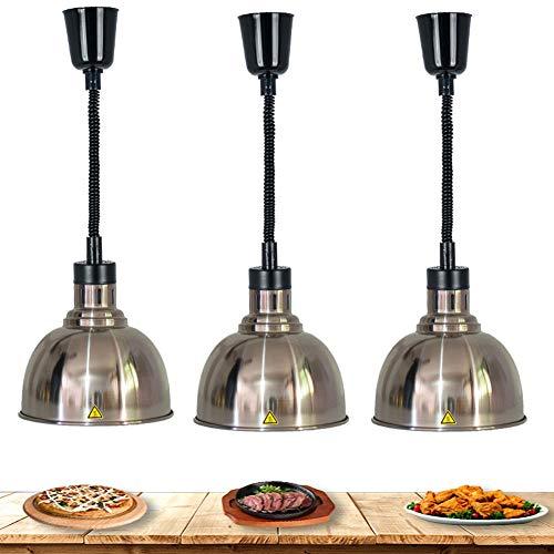 RSHJD Lampada per scaldavivande, Professionale Lampada Testa per Riscaldamento Alimentare Riscaldante a Buffet per Cucina in Acciaio Inossidabile 220V 250W 3 Pezzi