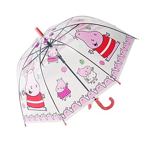 yui Paraguas tipo campana Apolo paraguas automático recto creativo dibujos animados lindo paraguas para niños luz transparente animal insectos playa paraguas (color: rosa)