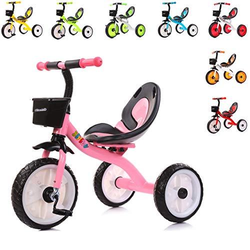 Chipolino Kinder Dreirad Strike ab 3 Jahre max. Traglast 25 kg komfortabler Sitz, Farbe:rosa
