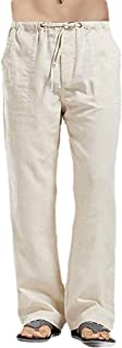 Macondoo Men's Comfy Loose Straight-Leg Trousers Elastic Waist Linen Pants