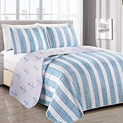 TOP QUALITY 3-PIECE LUXURY QUILT SET: Each set includes 1 quilt and 2 shams (1 for Twin size) to enhance your decor. Features an attractive seagoing design. SOFT, WARM AND COMFORTABLE: Stitched quilt featuring a super soft microfiber material that wi...