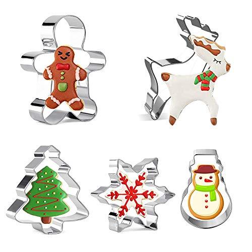 XCOZU Juego de 5 Cortadores de Galletas de Acero Inoxidable para Navidad, Copo de Nieve, árbol de Navidad, Hombre de Jengibre, Monigote de Nieve y Reno