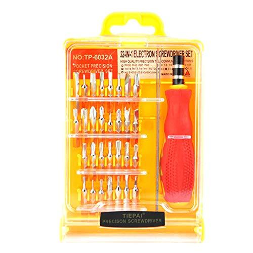 Ashley GAO Juego de herramientas de destornillador de precisión de acero al carbono amarillo + plástico PP especial 32 en 1 para tabletas y teléfonos móviles, portátiles