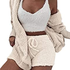 Material: Soft Cozy Fleece Sherpa.Comfortable Fabric with Fashion Designs, It's suitable for Spring, Autumn and Winter.Provide You Warm and Trendy Chic Looking in Cold Weather. Features: Crop top with spaghetti strap, elastic waist drawstring bodycon...