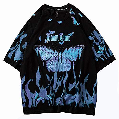 2020 Herren Hip Hop T-Shirts Blue Fire Flame Schmetterling StreetwearT-Shirt Harajuku Sommer Kurzarm T-Shirt Baumwolle Tops T-Shirts