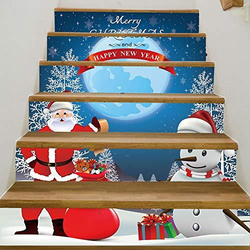 QWEN Frohe Weihnachten Santa Claus Schneemann Treppe Aufkleber Neujahr Kunst Wand Aufkleber Für Schlafzimmer Wohnzimmer Treppe Home Decor