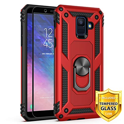 TJS Phone Case Compatible for Samsung Galaxy A6, with [Tempered Glass Screen Protector][Impact Resistant][Defender][Metal Ring][Magnetic Support] Heavy Duty Armor Drop Protector Cover (Red)