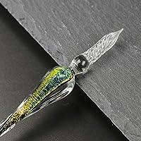 YOLAKIS ガラスディップペン ハンドメイド ガラスサインペン アーティストインクペン ヴィンテージディップインクペン クリスタルライティングギフトペン イエロー