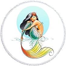 Mermaid Thick Round Beach Towel Blanket   Throw Indian Mandala Tapestry Tassel fringe  Microfiber   Bohemian Circle Style   Oversized Extra Large 60 Inch  Yoga Mat  Table cover (Mermaid 1)