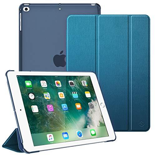 Fintie Funda para iPad 9.7 (2018/2017), iPad Air 2, iPad Air - Trasera Transparente Carcasa Ligera con Función de Soporte y Auto-Reposo/Activación, Azul Verde