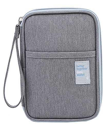 iSuperb Waterproof Oxford Travel Passport Wallet Credit Card Holder Clutch Travel Document Organizer for Card Cash Ticket Mobile with Hand Strap (Gray)