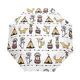 Fantazio paraguas de viaje de tres pliegues con diseño de zorro indio
