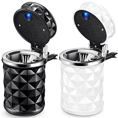 Frienda 2 Pieces car Ashtray with lid Smell Proof,Car Cylinder Portable with Blue LED Light Lighter Cylinder Stand Cylinder Cup Holder Mini Car Trash Can for Most Car Cup Holder (Black, White)
