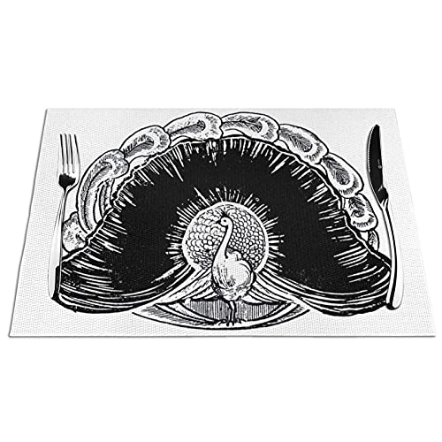 KPJDWEDS Black and White Peacock Placemats, Washable Easy to Clean, Heat Resistant Stain Anti-Skid PVC Placemats, Woven Vinyl Table Mats for Kitchen Dining Table 12 X 18 Inch(Set of 4)