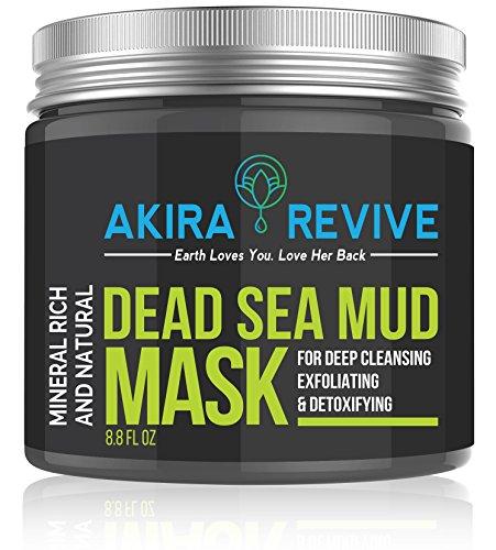 Máscara de barro del Mar Muerto Akira Revive para la cara, la piel grasa y las espinillas - Minimizador de poros, reductor y limpieza - Natural para una piel de aspecto más joven - 8,8 oz.