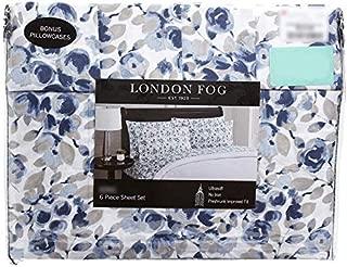 London Fog Blue Floral Sheet Set - Queen Size (2 Bonus Pillowcases)