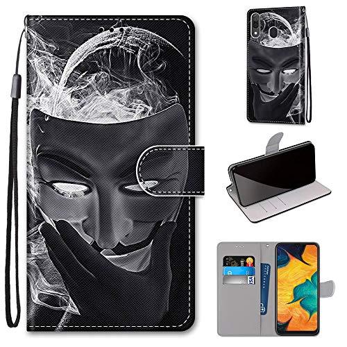 Miagon Flip PU Leder Schutzhülle für Samsung Galaxy A20/30,Bunt Muster Hülle Brieftasche Case Cover Ständer mit Kartenfächer Trageschlaufe,Maske