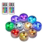 10pcs Submersible LED Lights 100% Waterproof CR2450 Mood Light Underwater Lights Battery Powered with IR Remote Control for Vase Fishtank Wedding Halloween Christmas