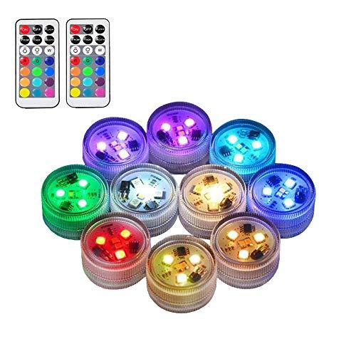 10pcs RGB Unterwasser LED Leuchten Tauch Multicolor 100% Wasserdichte LED Kerze Teelicht CR2450 Stimmungslicht Batteriebetrieben mit IR-Fernbedienung für Vase Schüsseln Schwimmbad Aquarium Party