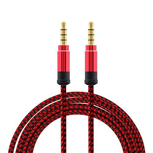 Kaxofang Rojo 1,5 Metros Cable de Audio de Metal Trenzado Cable de Audio AUX 3,5 mm