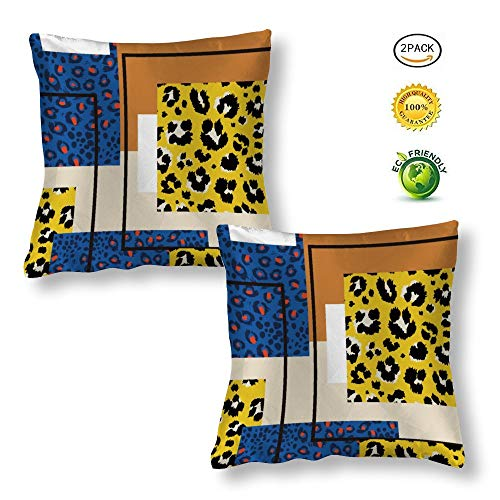 Pillow Cases 2 Pack Silk Cushion Covers 65x65cm Leopard Stitching Tiger Skin Texture Blue Yellow Decoration for Bedroom, Living Room, Family room, Dining room,Bedding, Sofa, Bench,Wedding