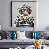 ganlanshu Pintura sin marcoMonkey Foto en lienzo Arte de la pared Moderno Abstracto Animal Poster e impresión40X40cm