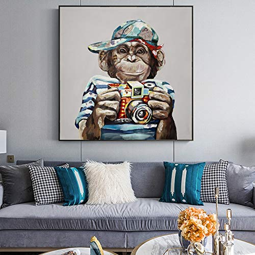 Rahmenloses GemäldeMonkey-Foto auf Leinwand Wandkunst modernes abstraktes Tierplakat und Druck 30X30cm