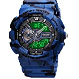 Mens Digital Sports Watch Large Face Sports Outdoor Waterproof Military Chronograph Wrist Watches for Men with Date Multifunction Tactics LED Army Stopwatch Camouflage Blue