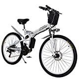 CLIENSY 26 Inch Electric Bike, 350W Folding Ebike with Removable 36V 8AH Lithium Battery for Adults, 21 Speed Shifter (White)