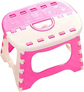 Fan-Ling Plastic Multi Purpose Folding Step Stool,Bathroom Children Small Bench,Portable Adult Outdoor Fishing Stool,Home Train Outdoor Storage Foldable (Pink 5)